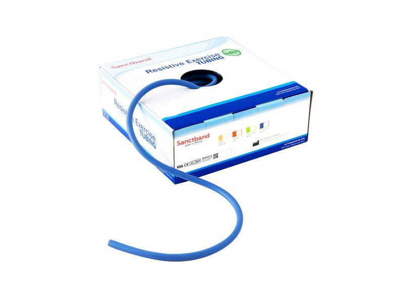 Resistive exercise tubing dispenser Blue