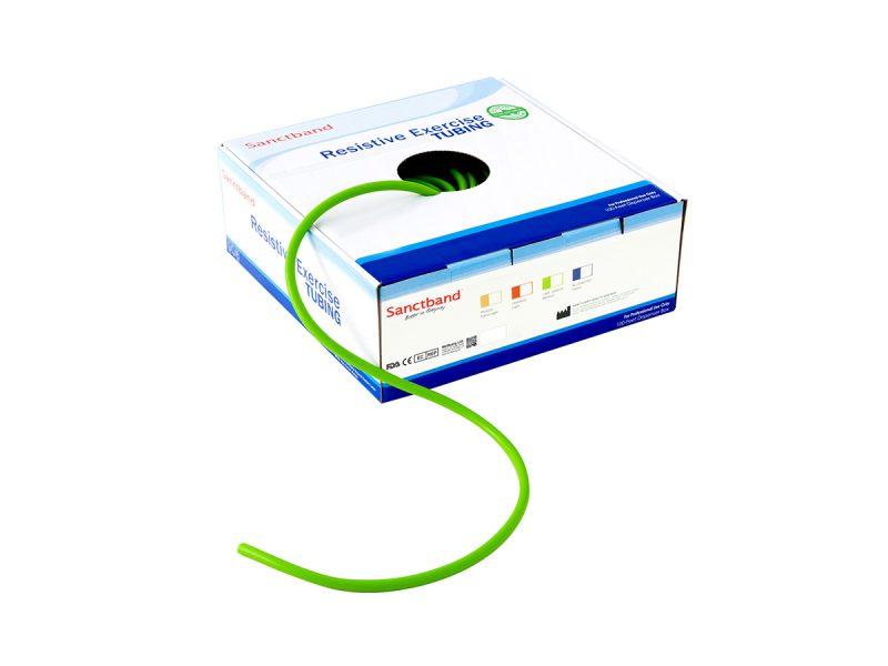 Resistive exercise tubing dispenser Green