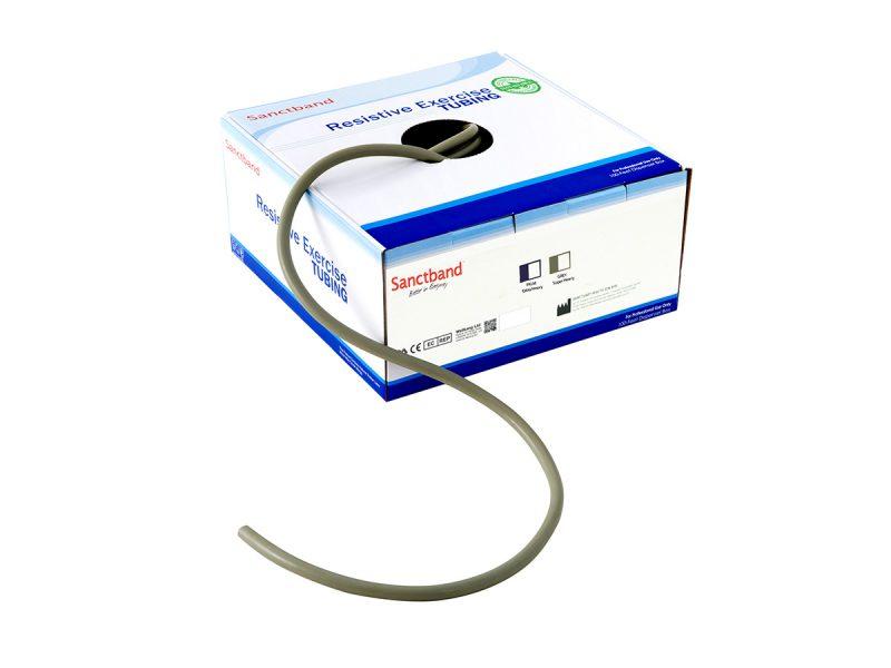 Resistive exercise tubing dispenser Gray