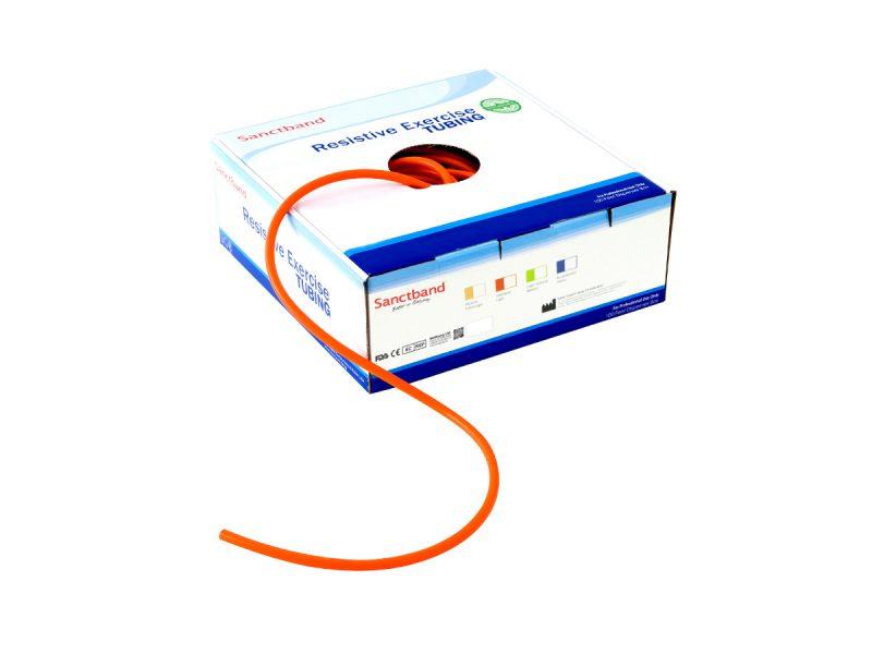 Resistive exercise tubing dispenser orange