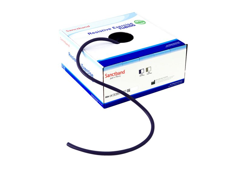Resistive exercise tubing dispenser Plum